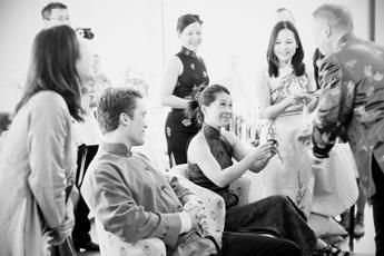 Kinesisk ceremoni inför bröllop på Djurgården i Stockholm