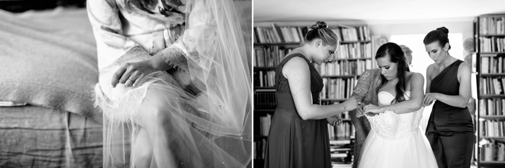bride getting dressed in swedish rectory