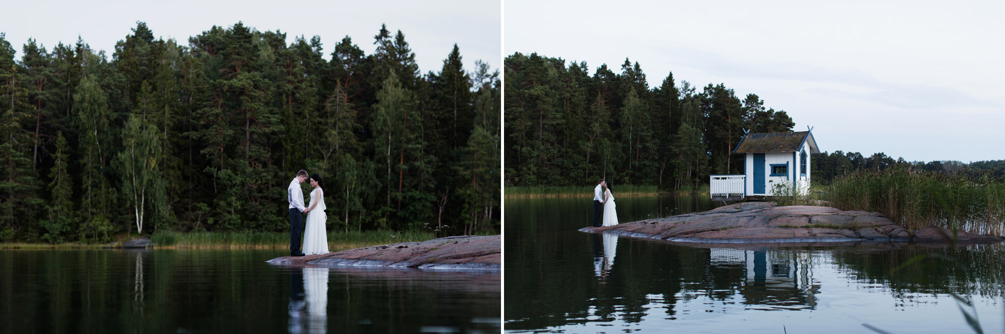 wedding portraits at twilight sweden
