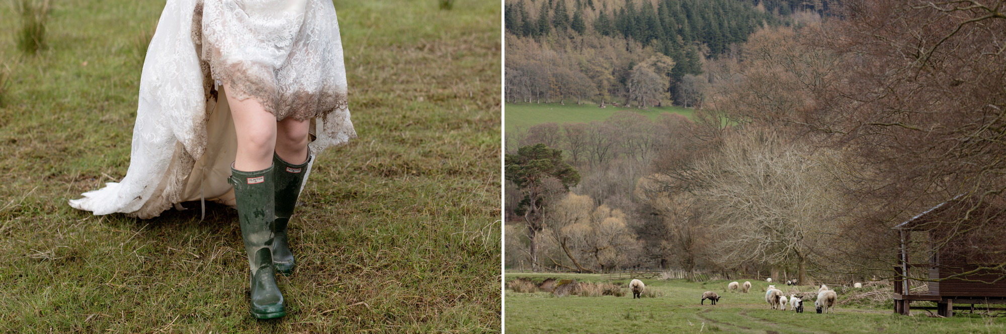 wedding dress full of dirt and hunter welly boots