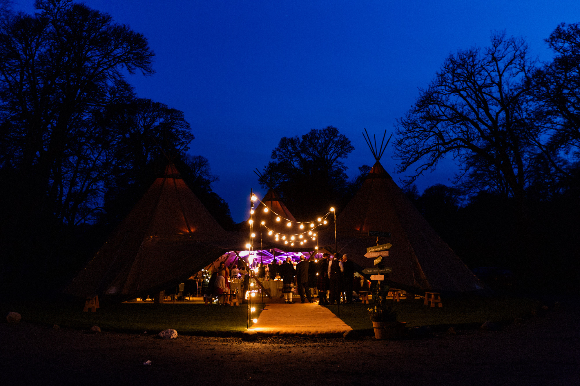 night scene at teepee wedding scotland
