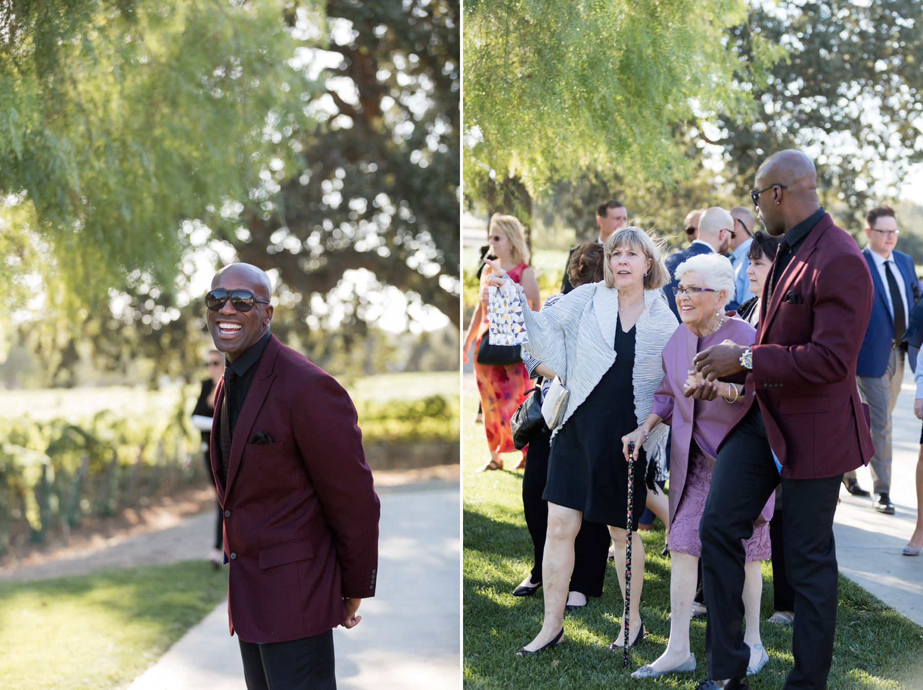 guests arrive at wedding roblar winery