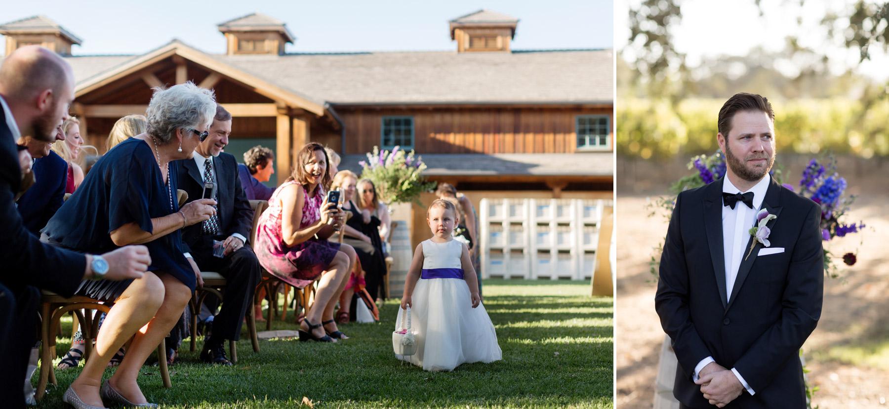 groom awaits bride at roblar winery los olivos