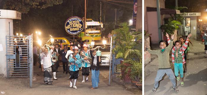 Street children, wedding parade, India