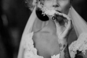 tatooed-bride-smoking-a-cigarr