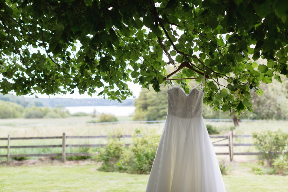 wedding dress in tree swedish country side