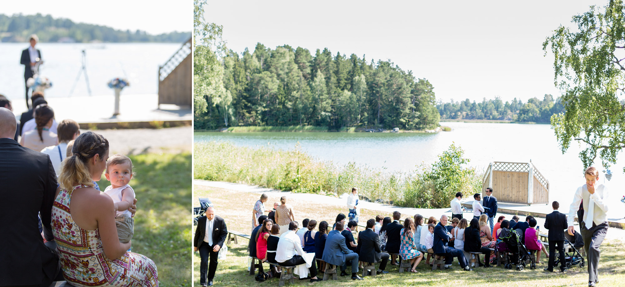 guests at wedding in marholmen sweden