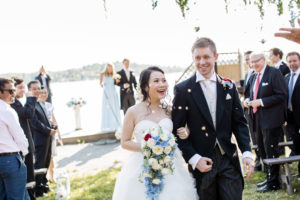confetti at outdoors ceremony sweden