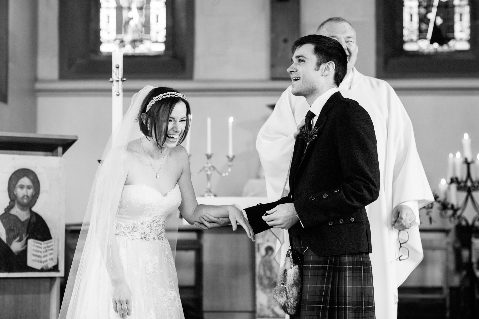 giggles during vows at traquair Kirk innerleithen