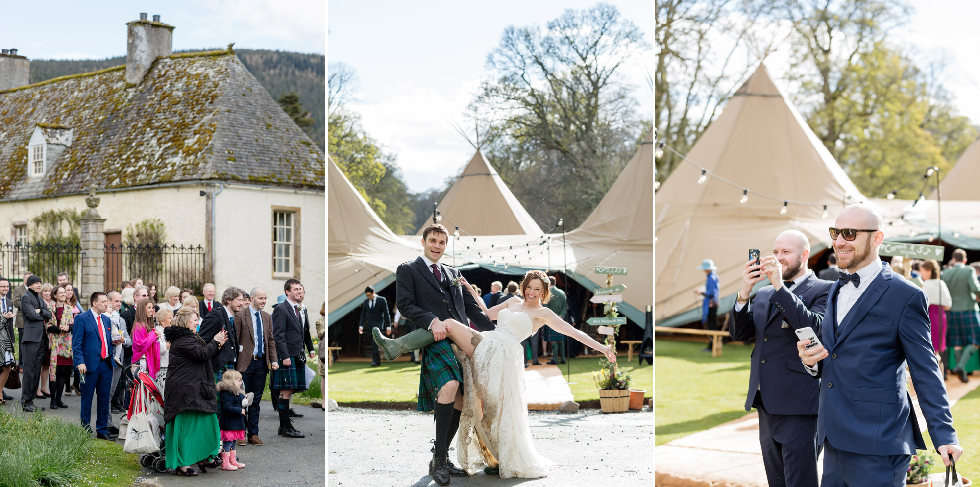 wedding party at traquir house scotland