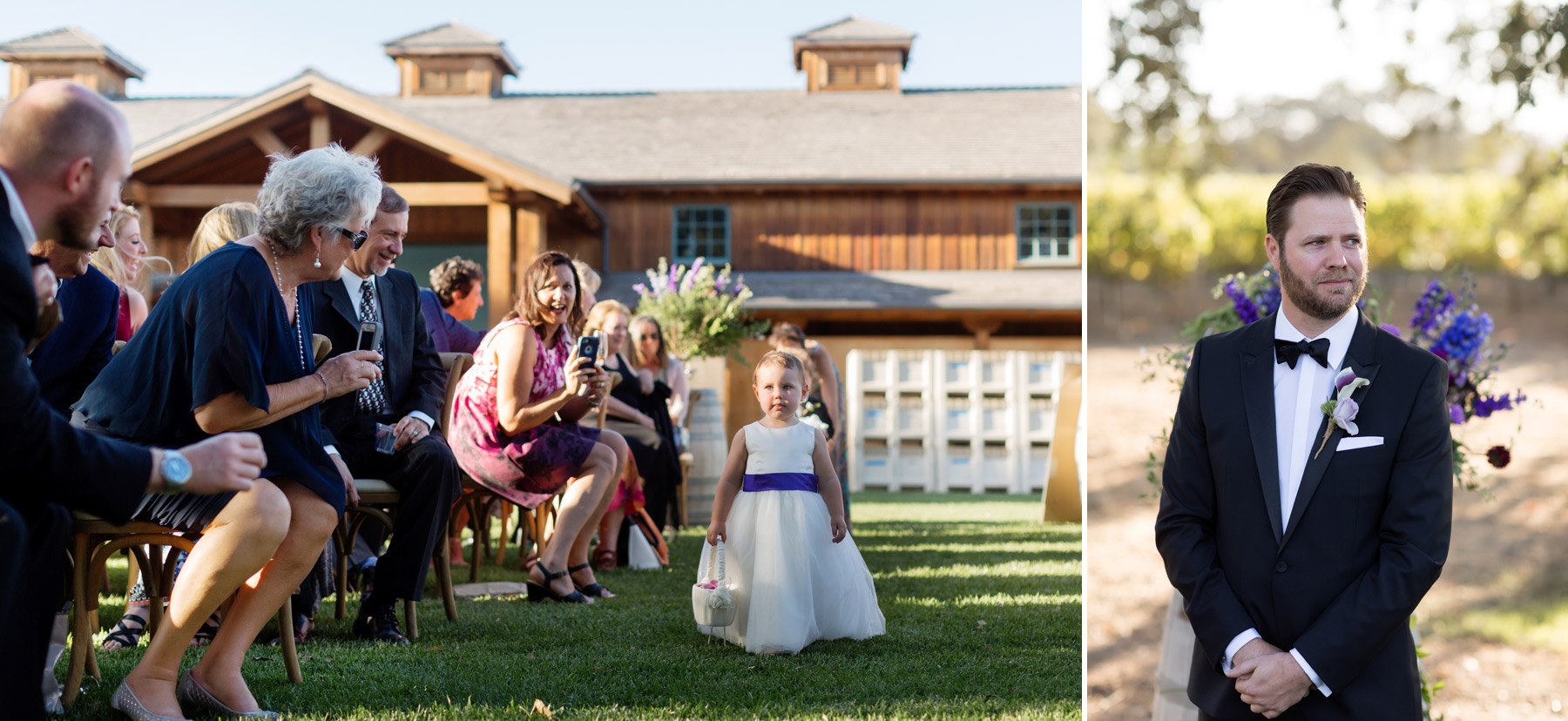 groom awaits bride at roblar winery los olivos
