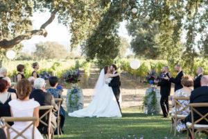 first kiss roblar winery wedding