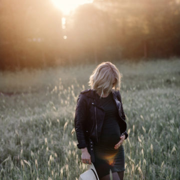 maternity shoot at golden hour