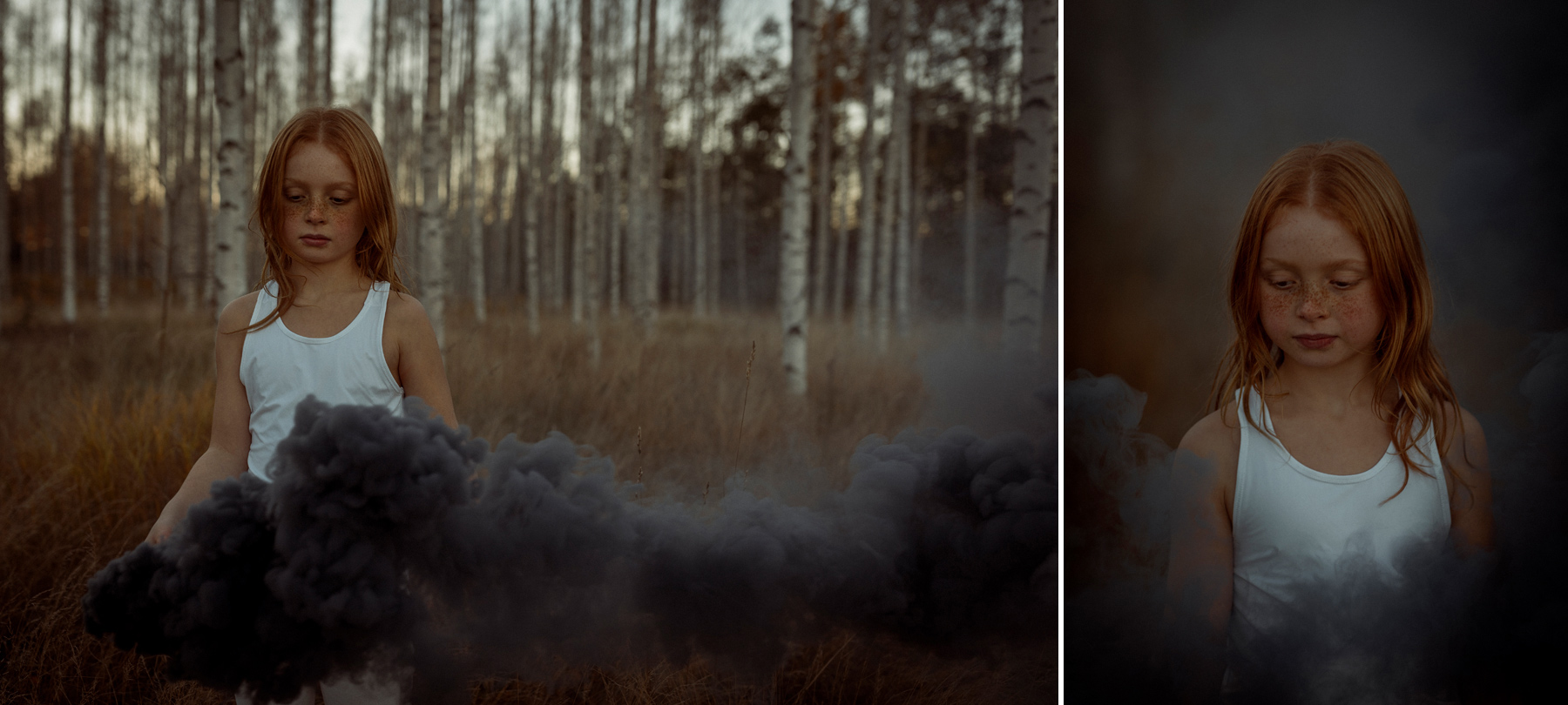 smoke bombs red haired girl
