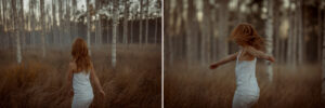 redhaired girl in forest