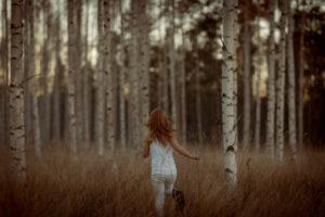 birch trees ginger girl